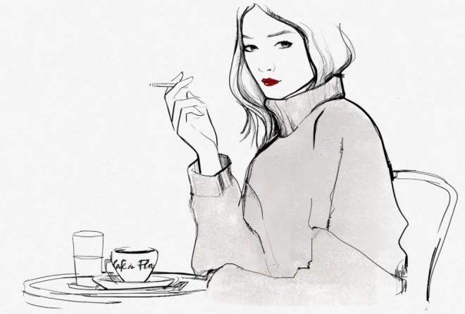 Cafe de Flore'da bir Parisienne